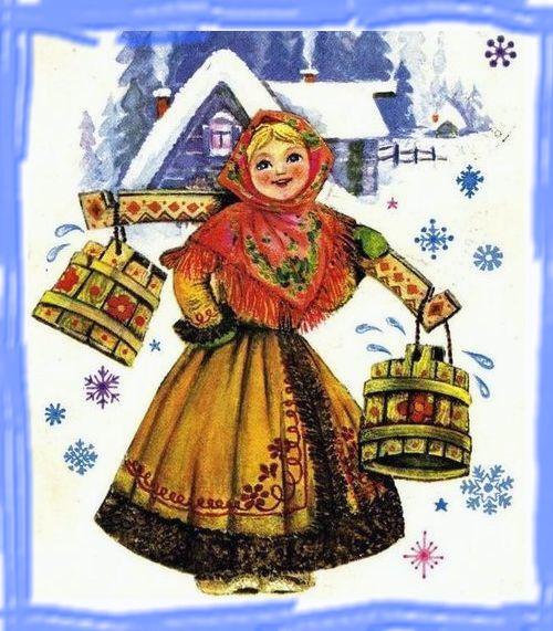 девушка с коромыслом зимой
