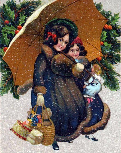две девушки несут подарки на рождество