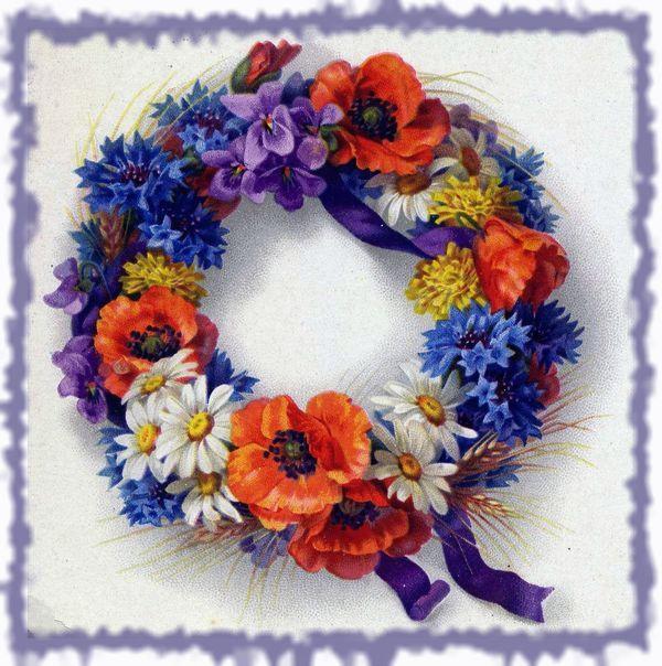 венок с яркими цветами