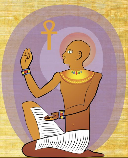египетский фараон и символ анкх