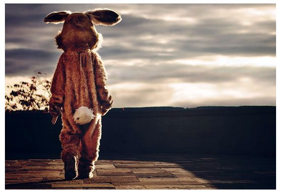 Человек в костюме кролика