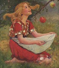 девочка и яблоко