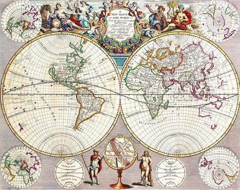 старинная карта Земли